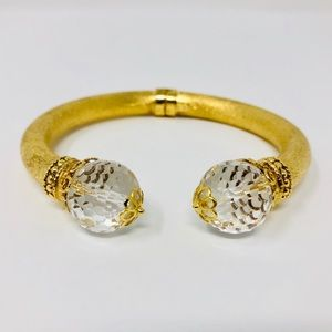 Jewelry - 🆕sterling, gold foil overlay, crystal cuff, Italy